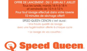Du 1 er juin au 7 juillet 2017  Tous les Lundis et Mardi de 16h à 18h  et tous les Vendredis de 10h à 12h  Pour tout lavage effectué dans votre laverie Speedqueen de Cenon 10mn de séchage offert.